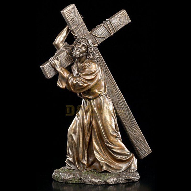 Factory Prouce Suffering Jesus Cross Bronze Catholic Religious Statue