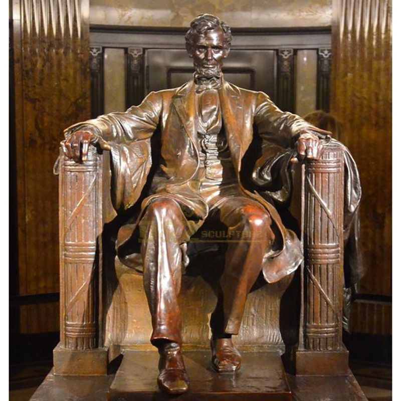 artistic metal garden bench with Abraham Lincoln bronze statue