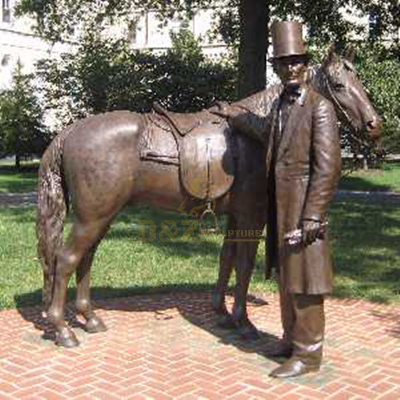 Famous Life Size Metal Bronze Lincoln Satatue with Horse