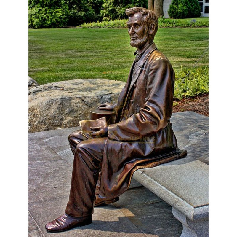 Outdoor garden decoration life size brass bronze abraham lincoln statue sculpture