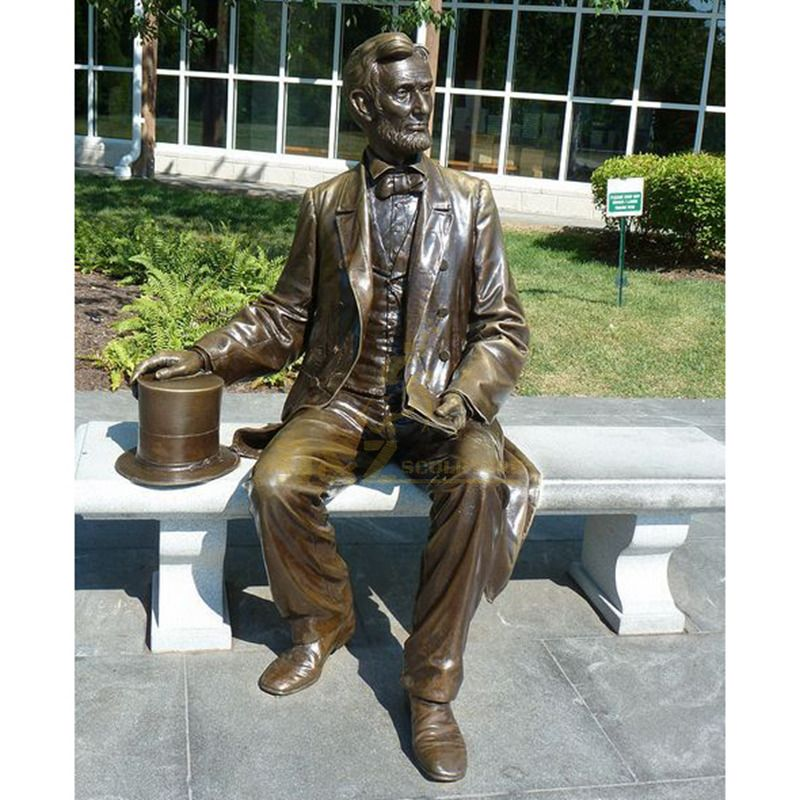 outdoor decoration life size young Lincoln bronze sculpture