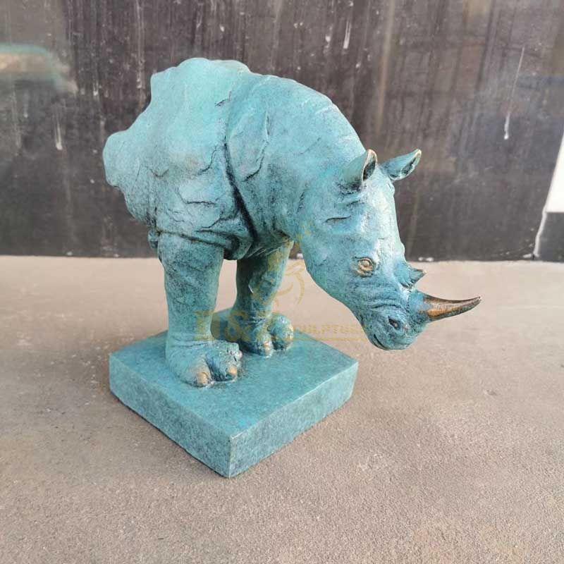 Metal art outdoor bronze rhino statues