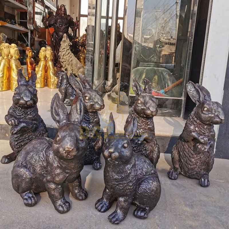 Home garden decoration animal sculpture bronze rabbit statue
