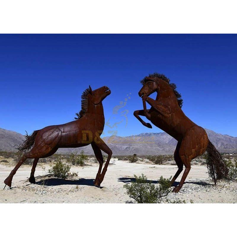 Garden Rusty Corten Steel Animal Horse Sculpture For Sale