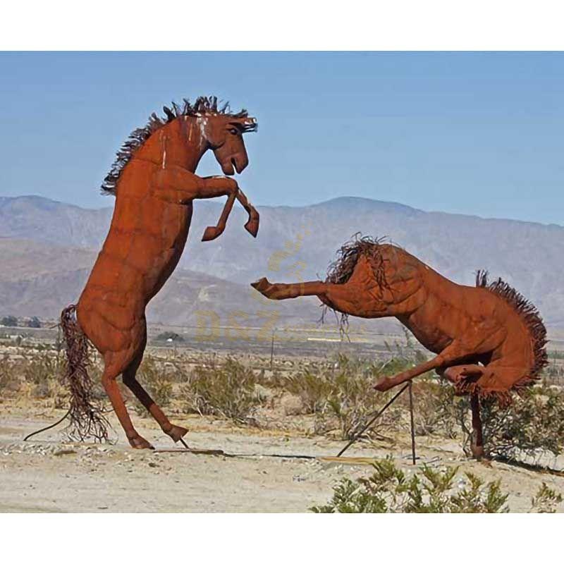 Corten steel Outdoor Decor Running Metal Horse Sculpture