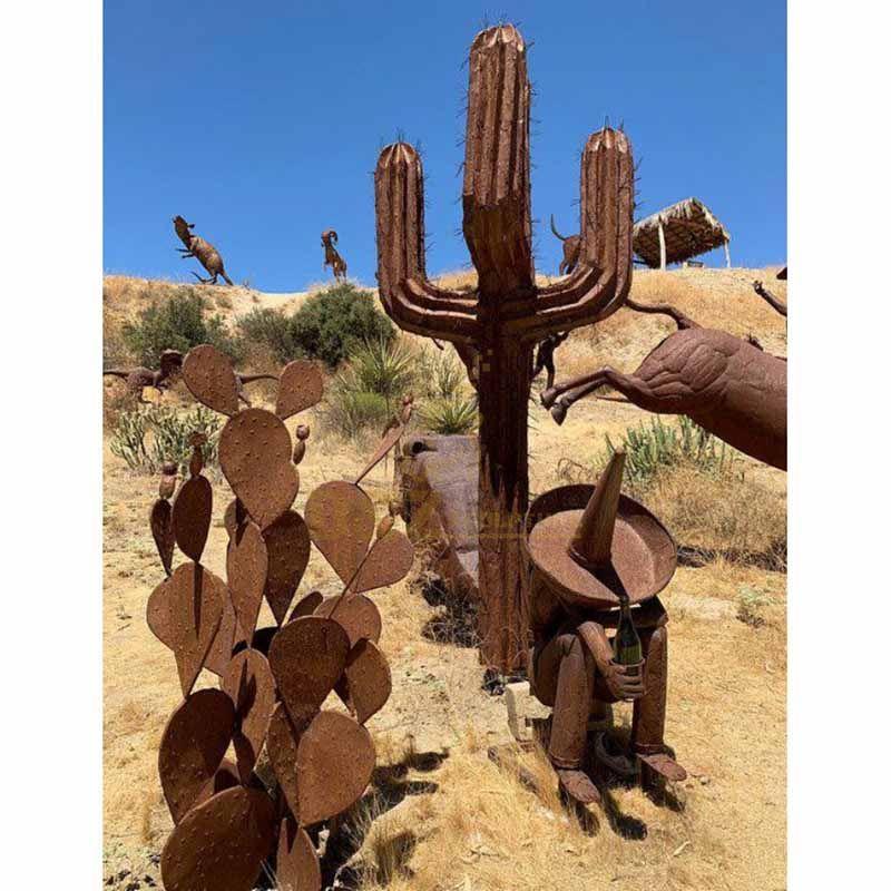 Outdoor metal cactus plant rusty art corten steel sculpture