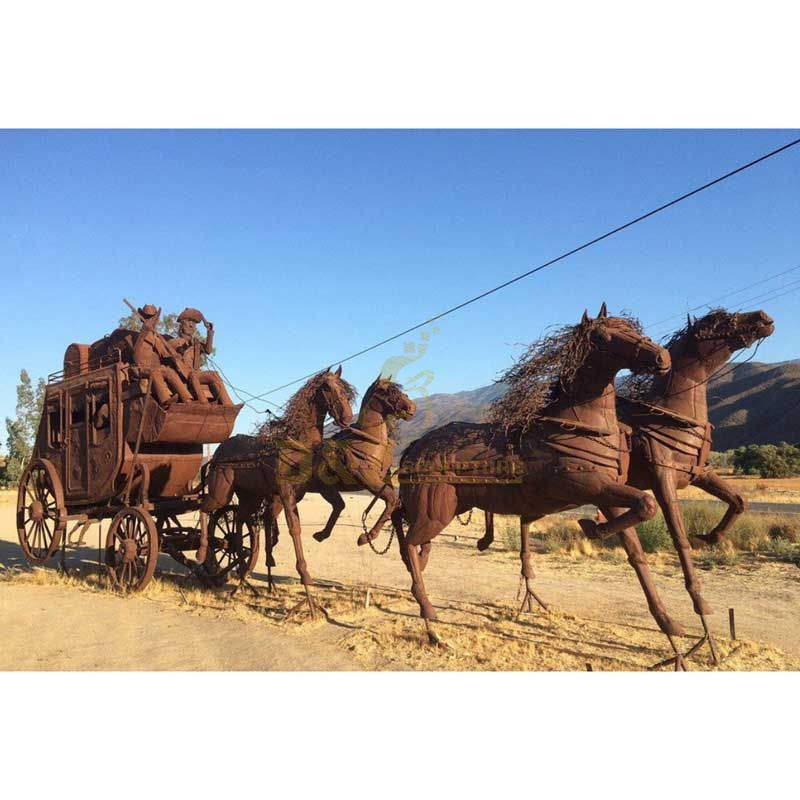 Large outdoor carriage corten steel horse modern sculpture