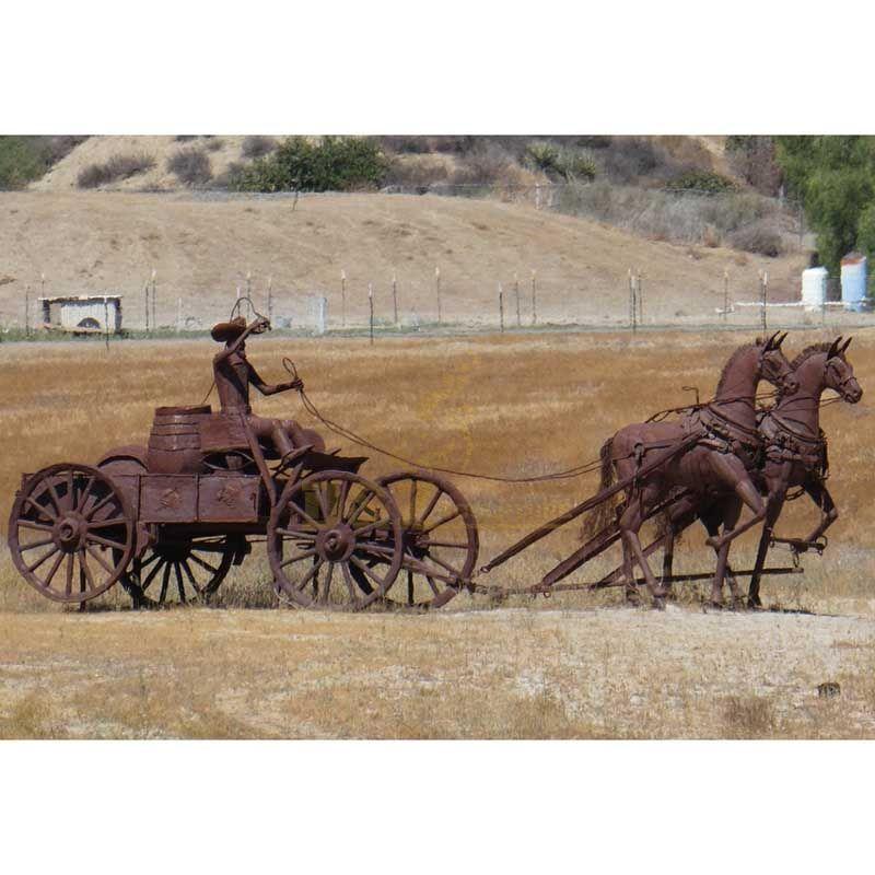 Life Size Roman Figure Corten Steel Garden Horse Sculpture