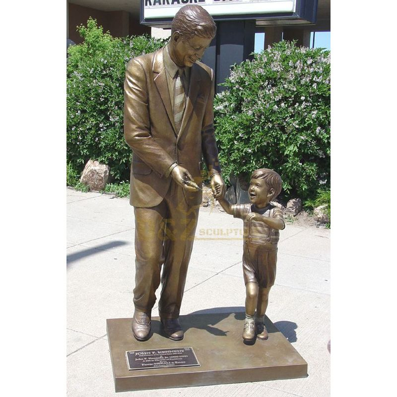 Custom Made Bronze President John F. Kennedy Sculpture With Child