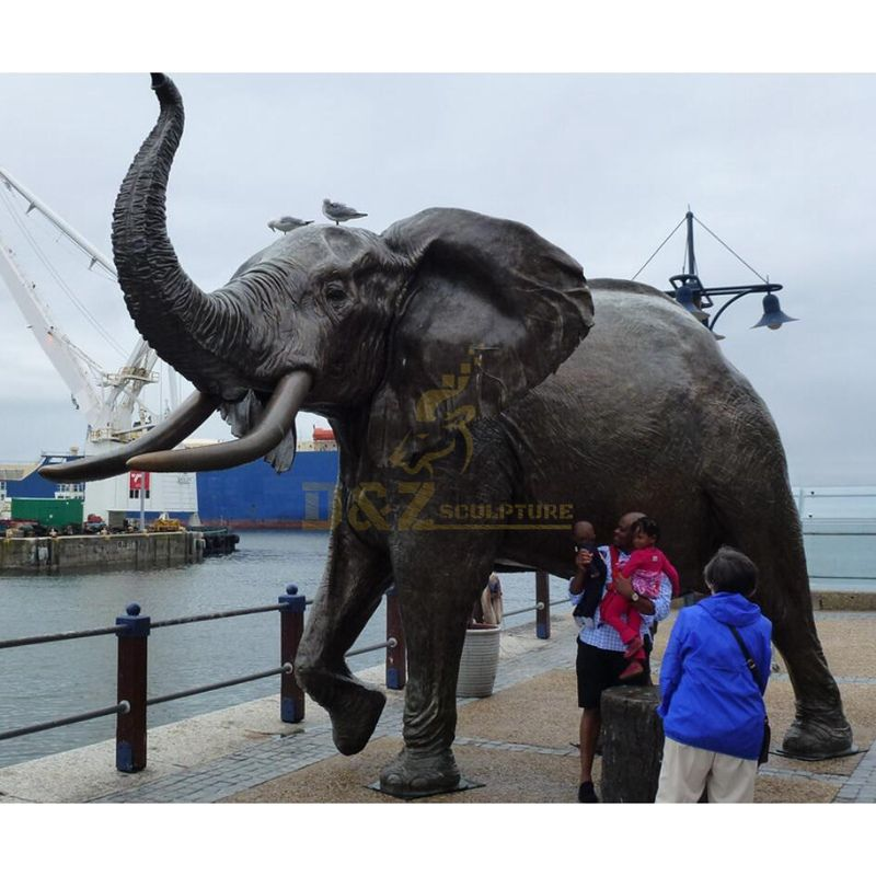 Life Size Outdoor Metal Bronze decorative elephant Animal Sculpture