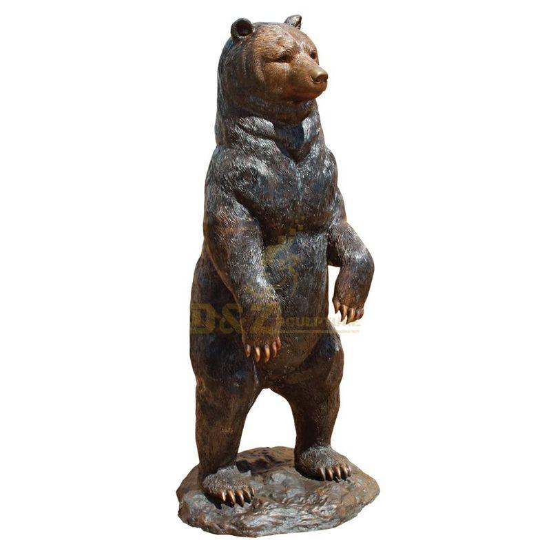 Life Size Metal Standing Black Bear Sculpture