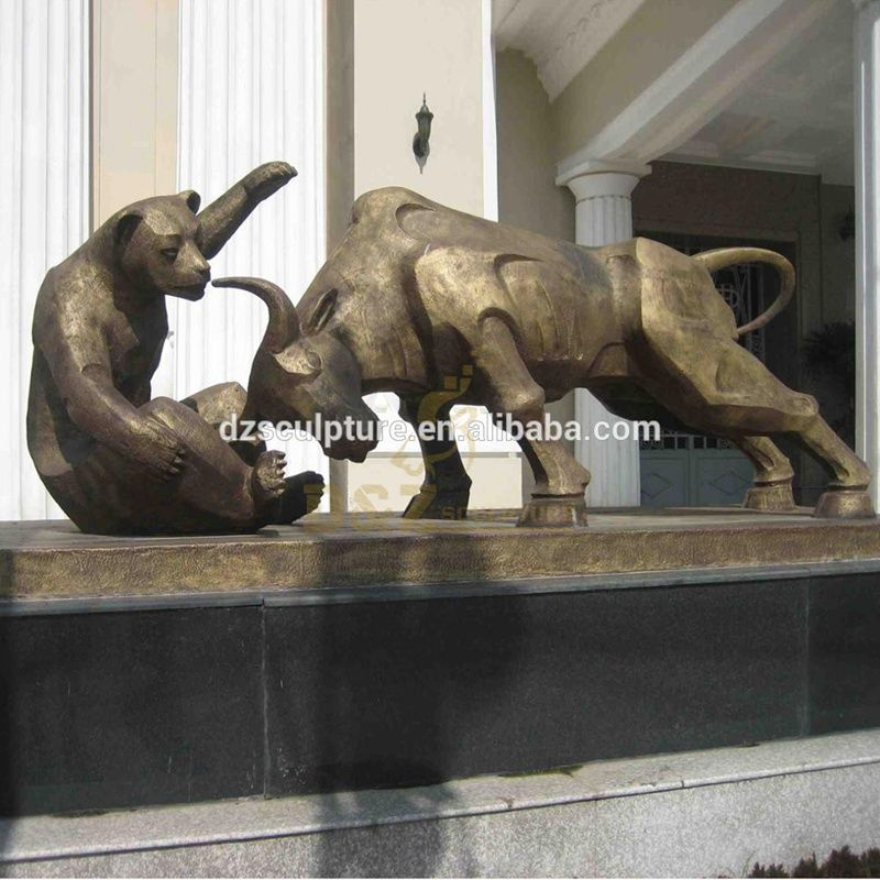 Life Size Bronze Figthing Bull And Bear Statues