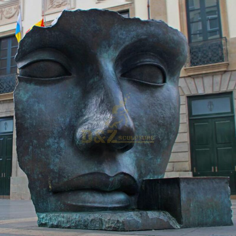 Outdoor Large Abstract Bronze Face Sculpture
