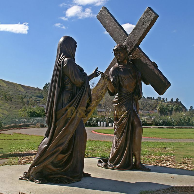 Large Outdoor Bronze Jesus Christ Holding A Cross Sculpture
