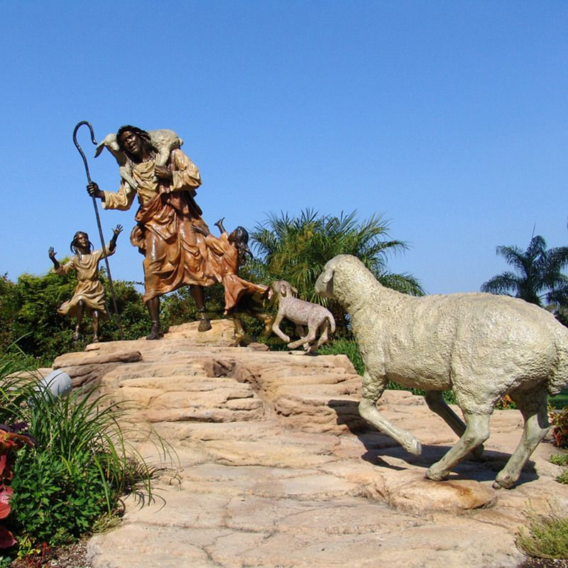 Garden Decoration Life Size Bronze Jesus Statue Sculpture Of Jesus Raising Chickens