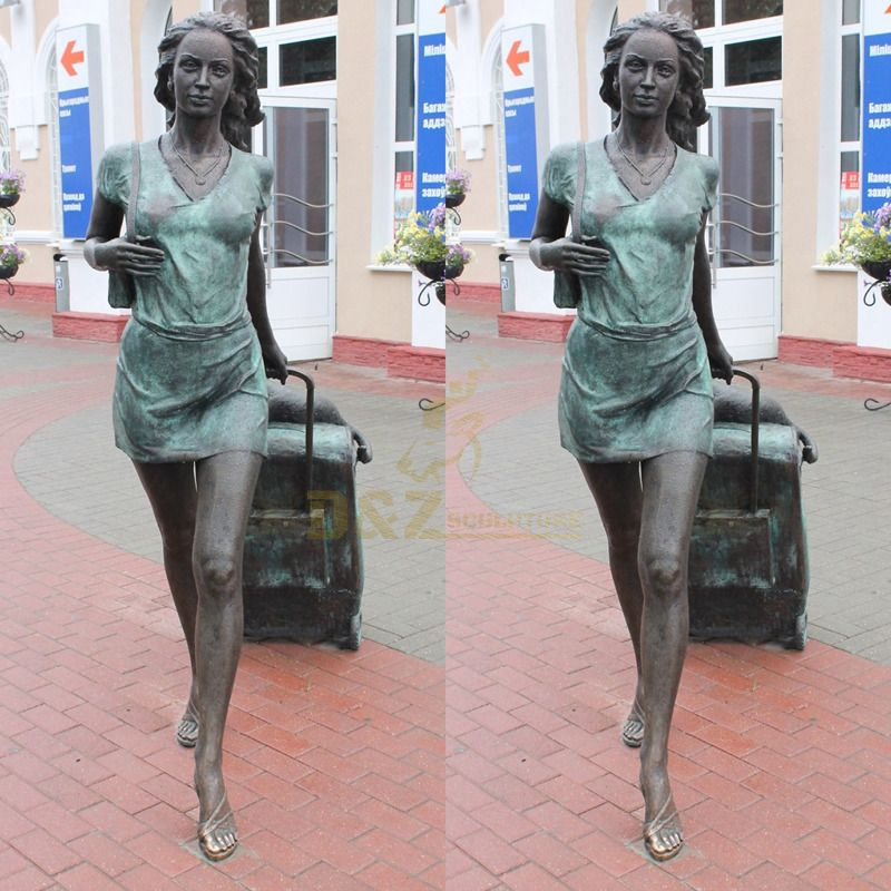 Public outdoor square bronze traveler lady statue for sale