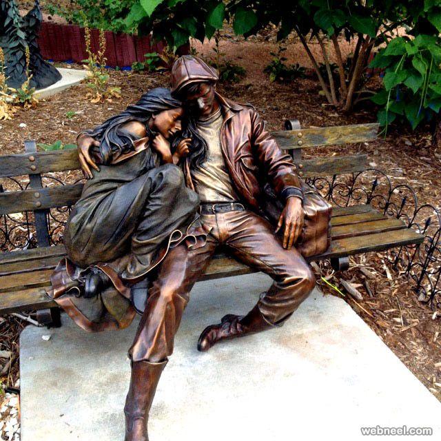 bronze garden sculpture figure decoration Metal craft Garden Life Size Bronze Sitting Young Couple statue On Bench