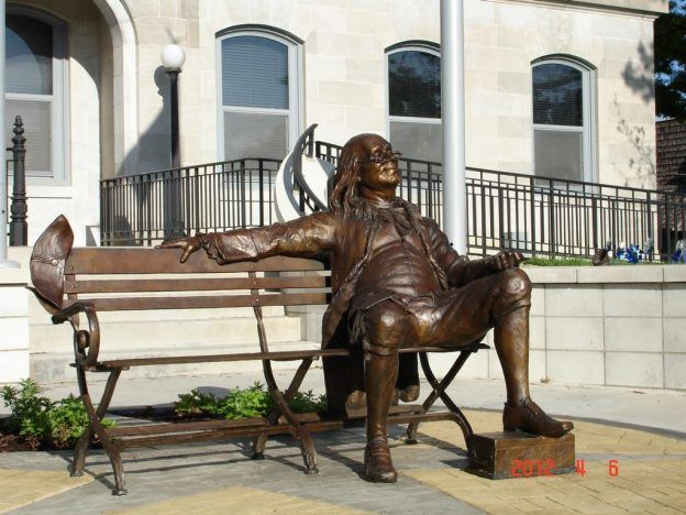 Man Sitting On Bench Bronze Sculpture