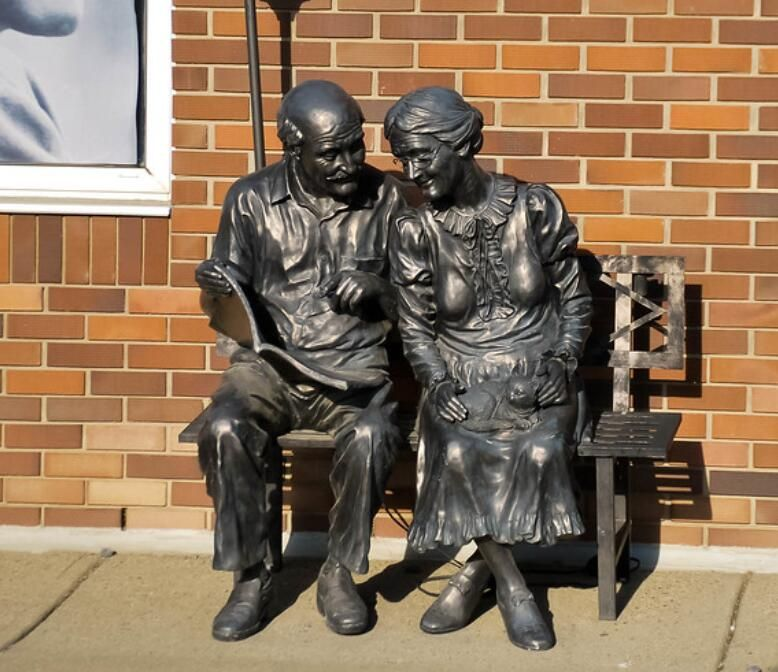 Bronze Old Woman And Man Sitting Chair Statue Brass Old Couple Statue