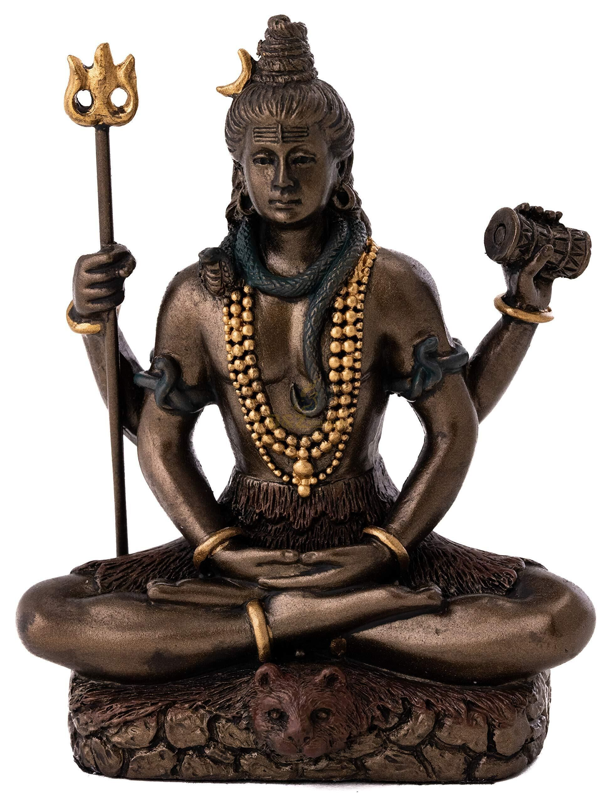 Antique life-size handmade god shiva statue bronze sculpture with outdoor decoration