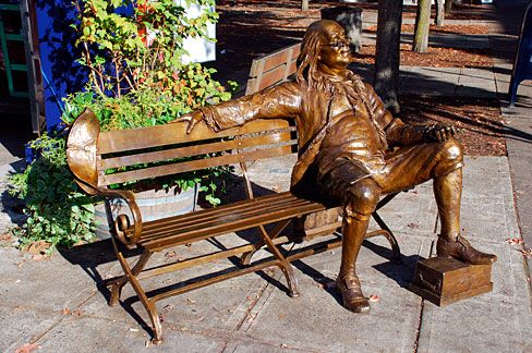 Man Sitting On Bench Bronze Sculpture