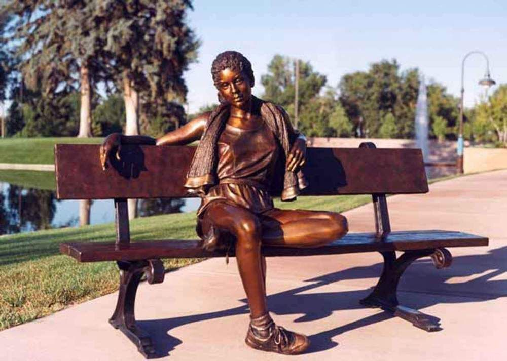 Garden Ornaments Bronze Woman Statue Sitting On A Bench Chair