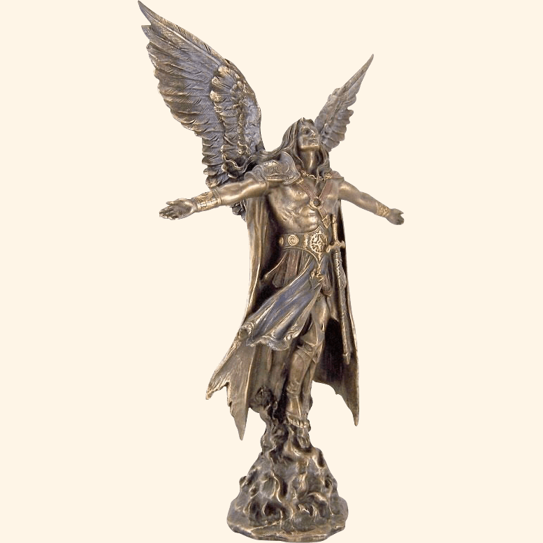 Western style Polished Bronze st michael the archangel Sculpture with sword life size winged angel Statue for sale