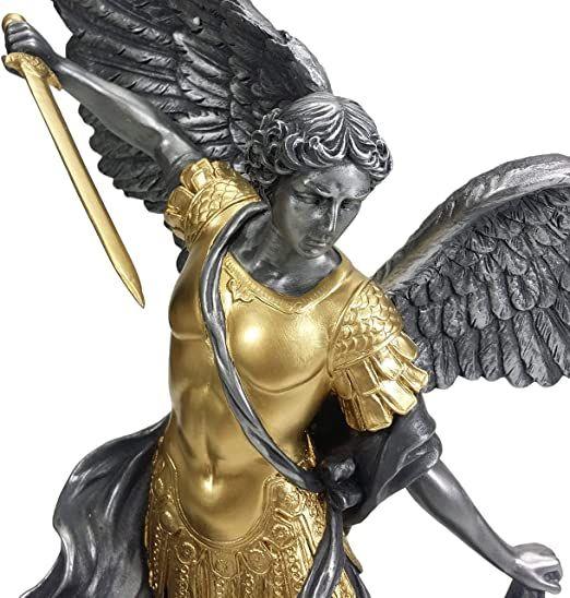 Church Decoration Bronze St Sculpture Saint Michael Step on Demon Sculpture