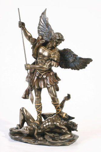 Life size bronze figure statue Saint Michael triumphed over the devil