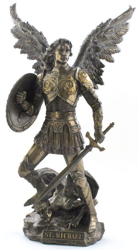 Large hand carved copper bronze angel sculpture St. Michael bronze statue