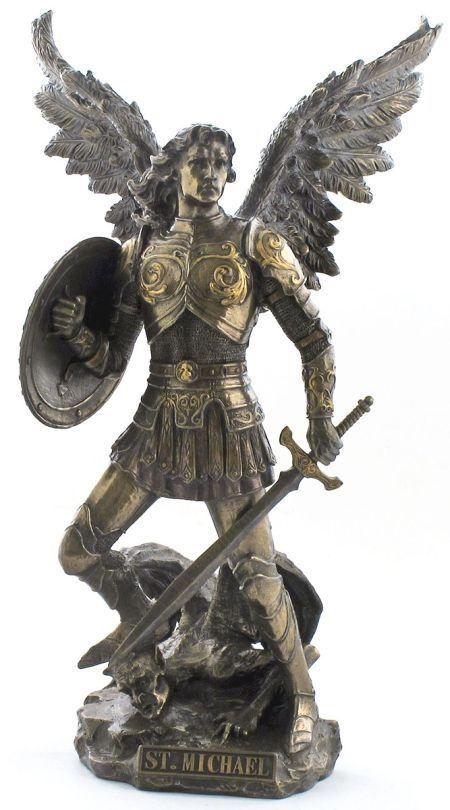 Large hand carved copper bronze angel sculpture St. Michael bronze statue