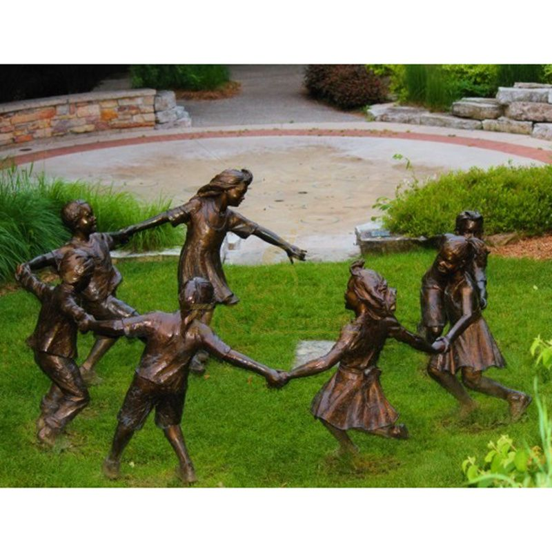 metal bronze life size bronze children playing sculpture for sale