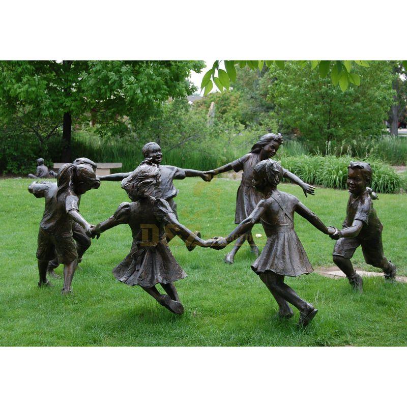 Outdoor lifelike garden cast bronze children statues sculpture