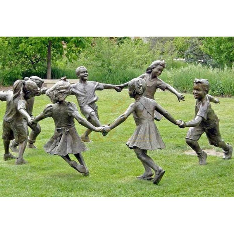 Wholesaler Lifesize Custom made factory offer Garden Playing children Bronze kids Sculpture