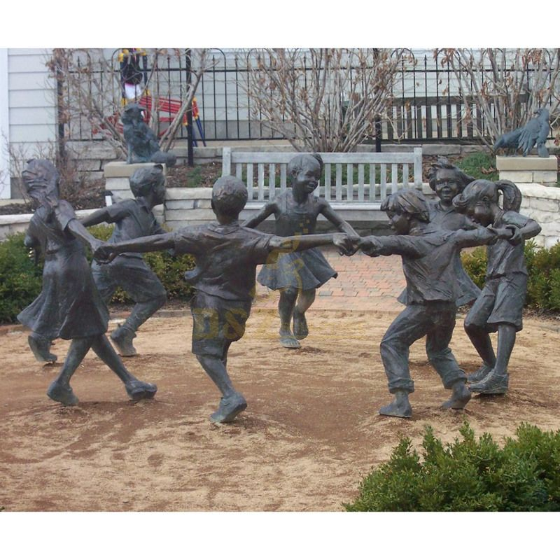 Life Size Garden Bronze Children Playing Sculptures