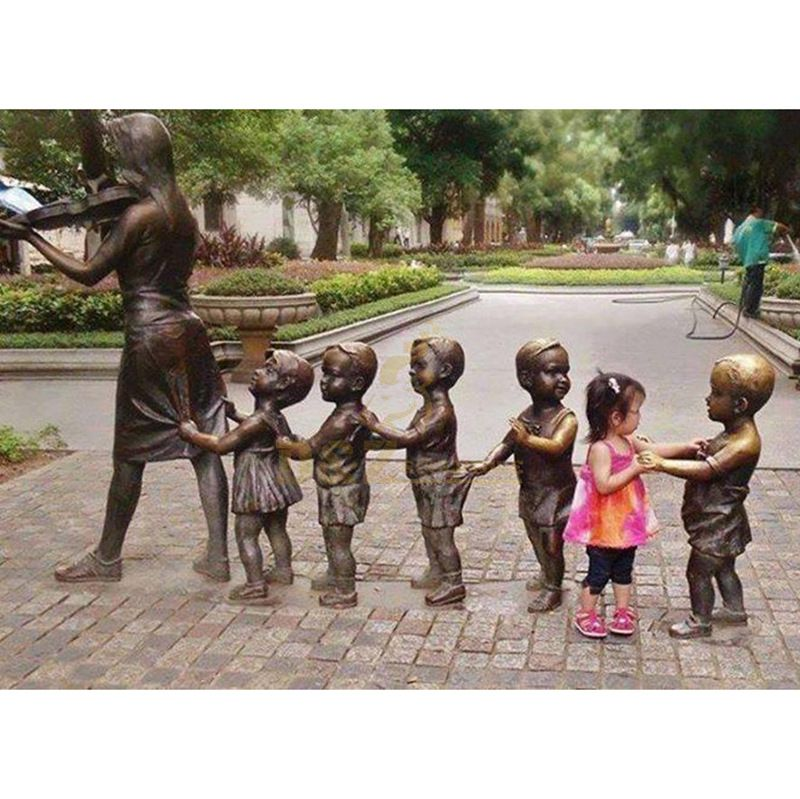 Life size handmade outdoor decoration bronze child statue sculpture