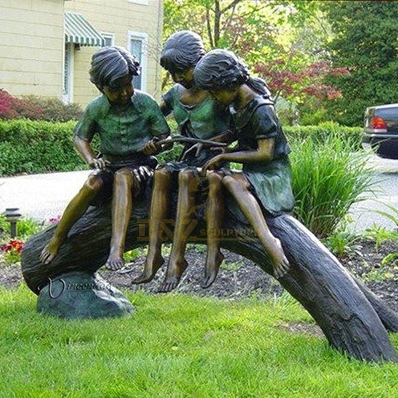 Life-Size Statue Of Handmade Outdoor Children's Bronze Statue For Sale