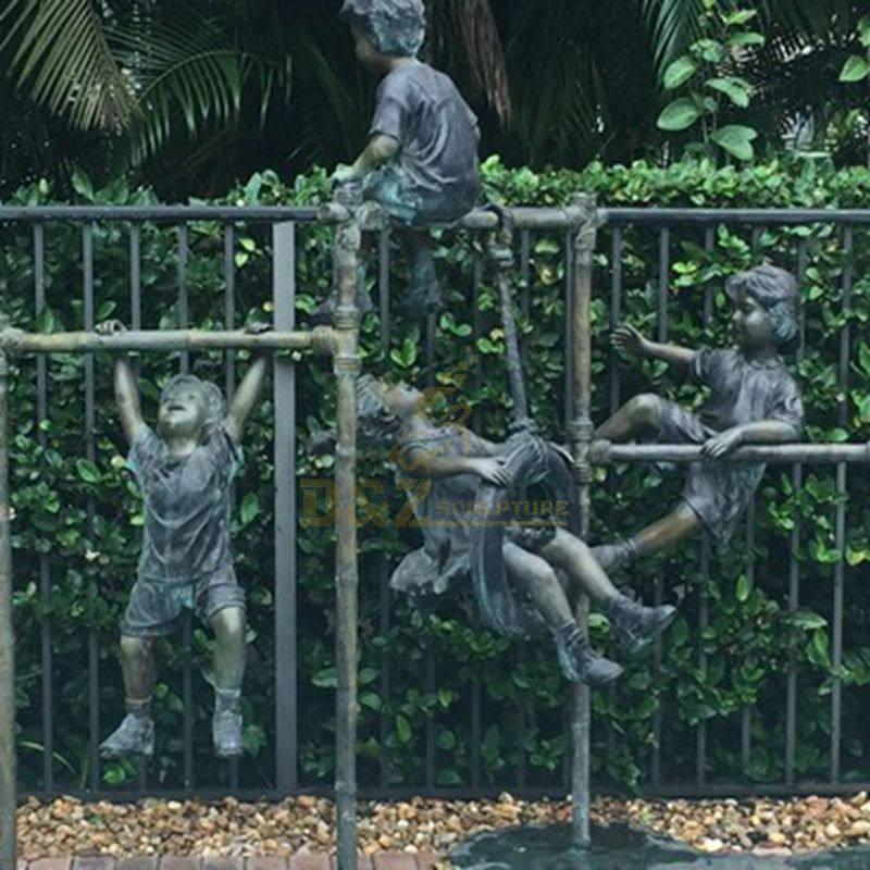 Decorations outdoor life size children bronze statue