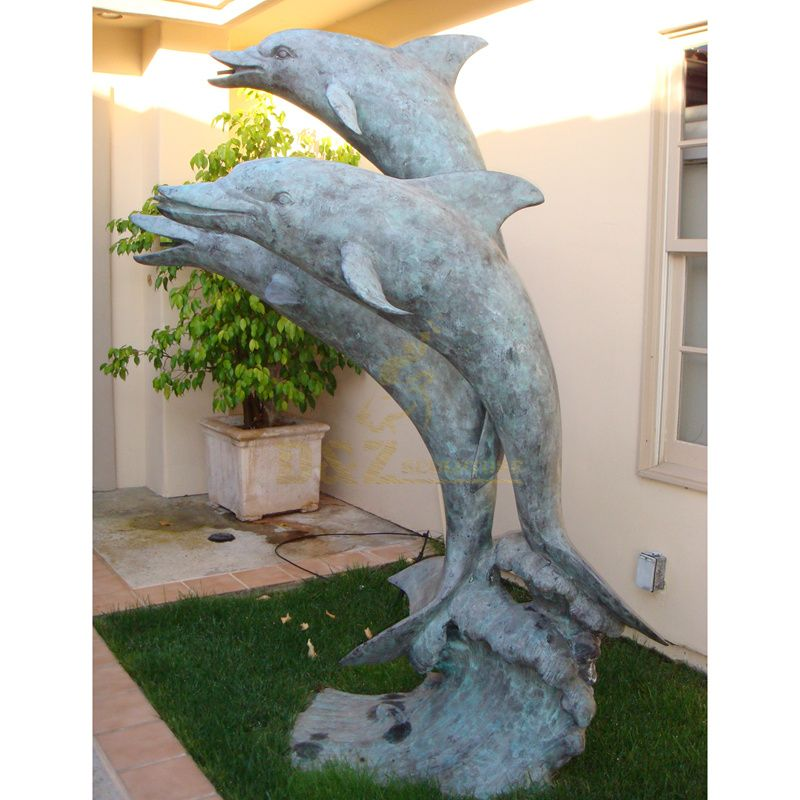 fine workmanship landscape sculpture bronze dolphin fountain statue