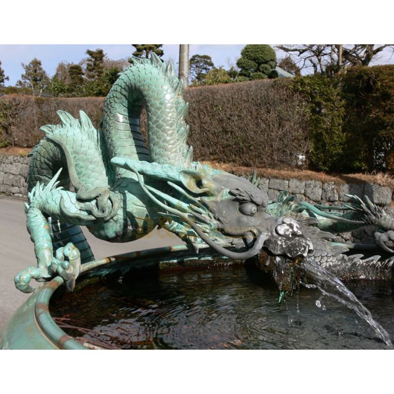 bronze garden dragon head statue sculpture