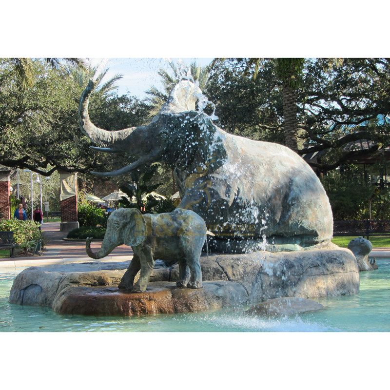 outdoor Garden decoration Metal craft bronze large elephant fountain statue