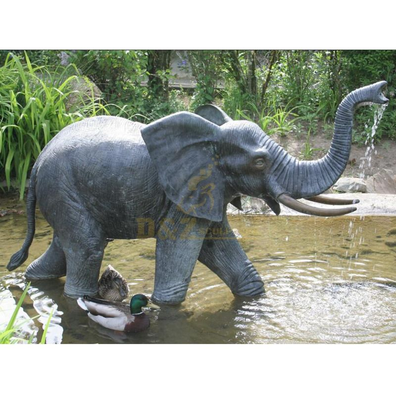 Chinese factory high quality bronze life-size large elephant fountain statue