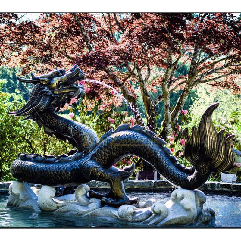 Garden decorate chinese bronze dragon water fountain statue sculptures