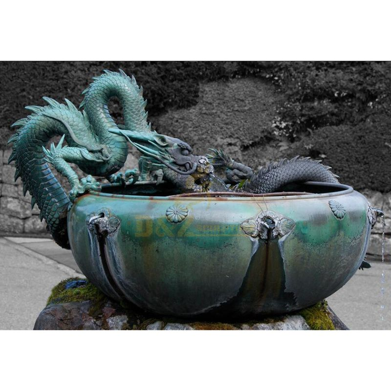 Garden Bronze Dragon Sculpture Fountain For Sale