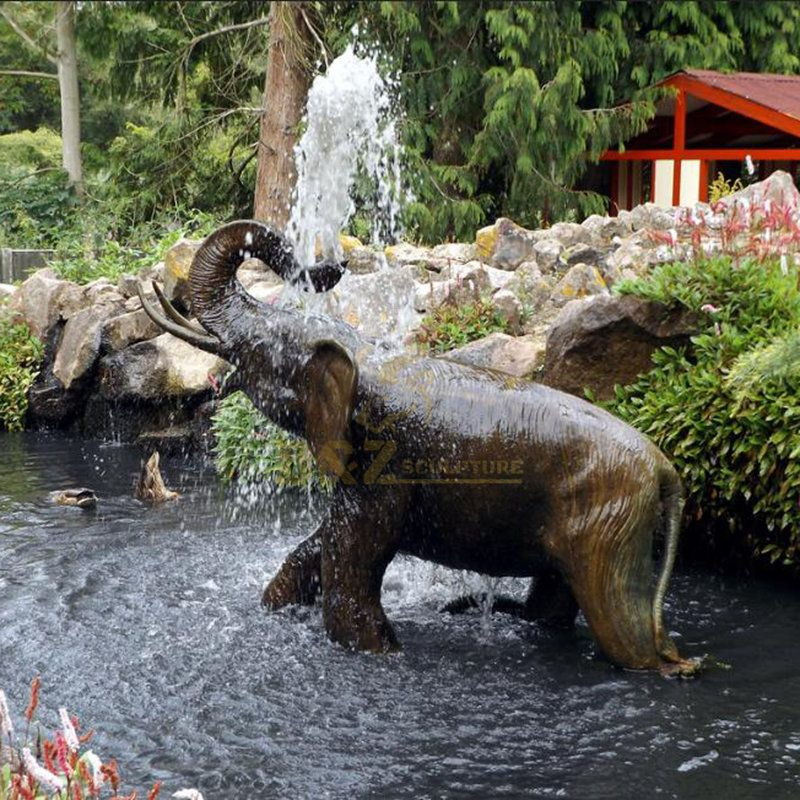 Garden Decorative brass bronze elephant water fountain sculpture