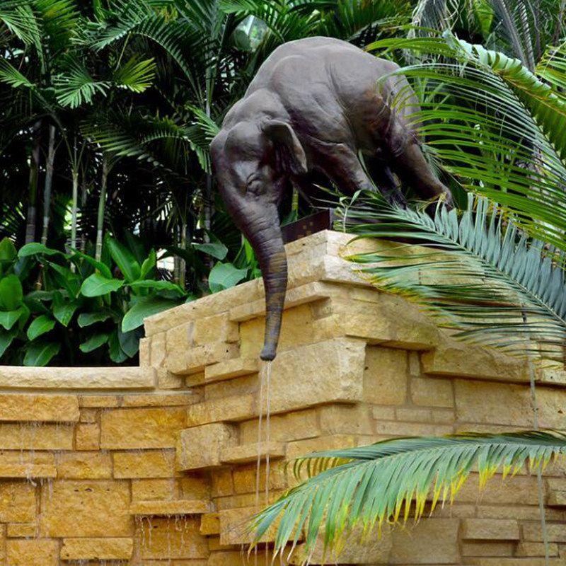 Villa garden decorative large bronze elephant water fountain for sale