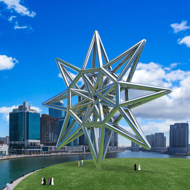 Design by famous artist Ken Kelleher Large Geometric Stainless Steel Sculpture