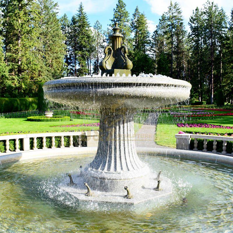 Garden Decor Water Feature Bronze Water Fountain With Swan Sculpture