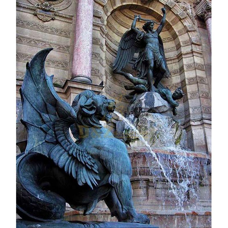 Garden Bronze Dragon Sculpture Fountain For Sale