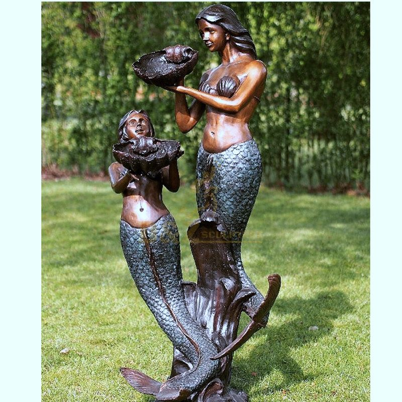 Life Size bronze Fountain Mermaids Sculpture Water Feature for garden